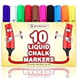 **SPECIAL** Pack of 10 LIQUID CHALK MARKERS, Vivid Colors - Premium Quality Markers - Unique Reversible Tip - Easy Dry Erase - Non-Toxic, Safe for Kids, PLUS 2 BONUS REPLACEMENT TIPS