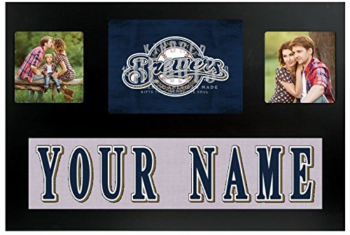 Milwaukee Brewers Heart - Milwaukee Brewers MLB Custom Jersey Nameplate and Logo Picture Frame