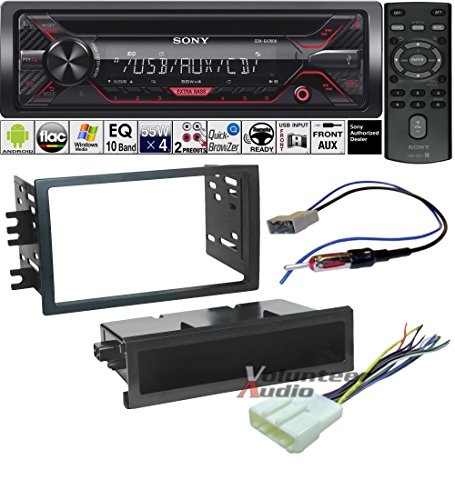 Volunteer Audio Sony CDX-G1200U Double Din Radio Install Kit with CD Player, USB/AUX Fits 2008-2012 Nissan Titan (Manual A/C controls)