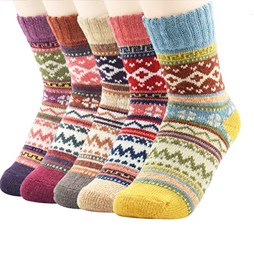 Zando Women Winter Wool Cashmere Sock Hiking Soft Warm Socks Cozy Merino Thick Crew Sock Comfort Wool Ankle Socks 5 Pairs Diamond2 6-11(US)