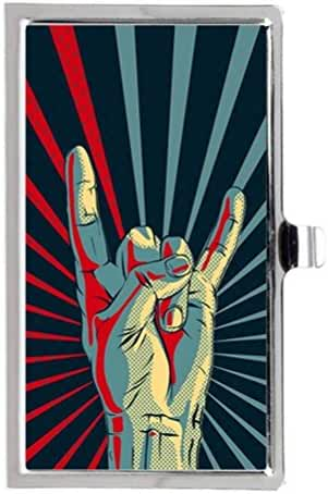 Rock Hand Gesture Sign Image Business Name Card Holder Case