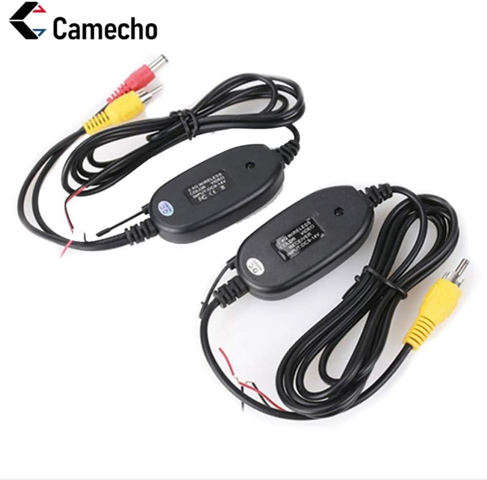 Camecho NEW 2.4G transmisor y receptor de video en color inalámbrico para la cámara de respaldo del vehículo cámara frontal del coche