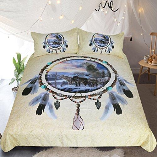Sleepwish Indian Wolf Bed Set Winter Wolves Western Dream Catcher Bedding Vintage Yellow 3 Piece Snow Wild Animals Duvet Cover (Full)