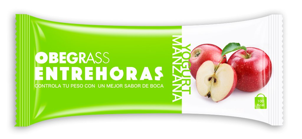 Obegrass Barrita Saciante Entrehoras, Manzana y Yogurt - 20 Unidades: Amazon.es: Salud y cuidado personal