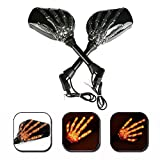 Triclicks LED Skull Skeleton Hand Claw Side Mirrors Rearview Mirrors With Turn Signals For Motorcycle with 8mm 10mm Thread Bolts, Left & Right