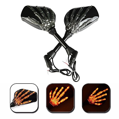 Black Motorcycle Mirrors With Turn Signals - 6