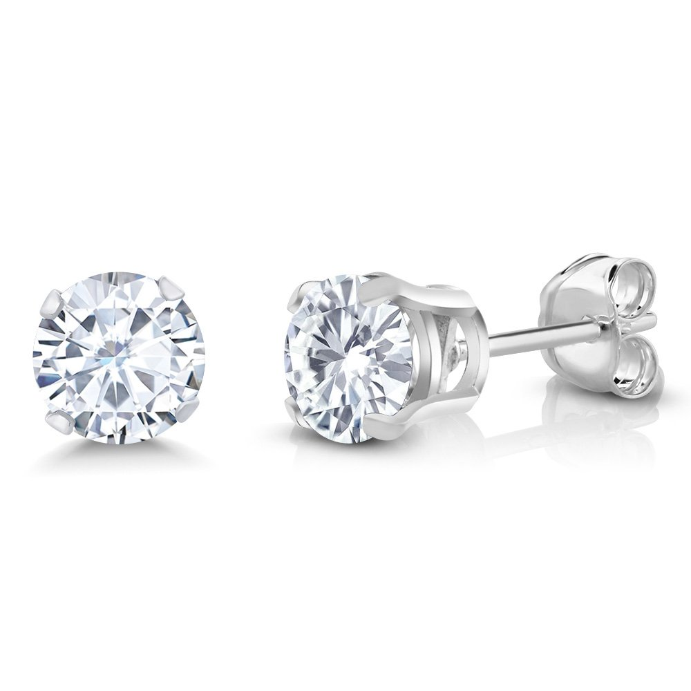 1.00 Ct Round 5mm White Created Moissanite 925 Sterling Silver Stud Earrings