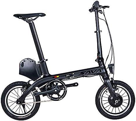 Sava E0 Bicicleta Plegable electrica Ebike, 14 Pulgadas E-Bike de Carbono 36V/180W Engranaje Fijo Sola Velocidad Urban Track Mini City Bicicleta Plegable con Faros: Amazon.es: Deportes y aire libre