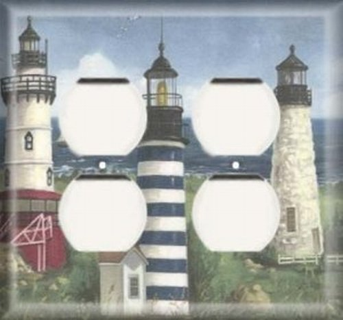 More Lighthouses - Double Duplex Outlet Light Switch Plate Cover ()