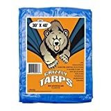 Grizzly Tarps 30 x 40 Feet Blue Multi Purpose Waterproof Poly Tarp Cover 5 Mil Thick 8 x 8 Weave