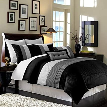 Amazoncom 8 Pieces Black White Grey Luxury Stripe Comforter 104
