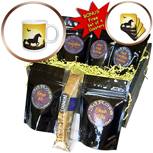 3dRose Sven Herkenrath Animal - Riding Horse with Bird and Sunset in the Background Freedom - Coffee Gift Baskets - Coffee Gift Basket (cgb_294925_1)