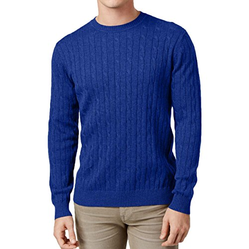 Club Room Mens Cable Knit Crew Neck Pullover Sweater Blue (Blue Cable Knit Sweater)