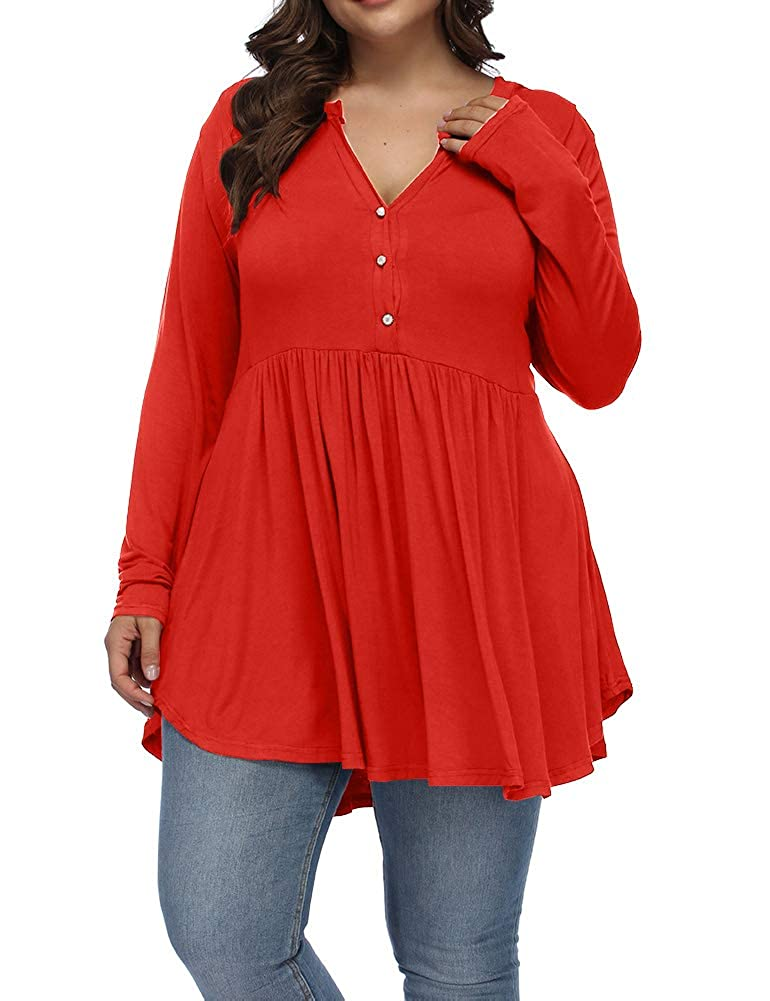 Allegrace Women's Plus Size Henley V Neck Button Tunic Tops Long Sleeve Swing Flowy Shirts AG431