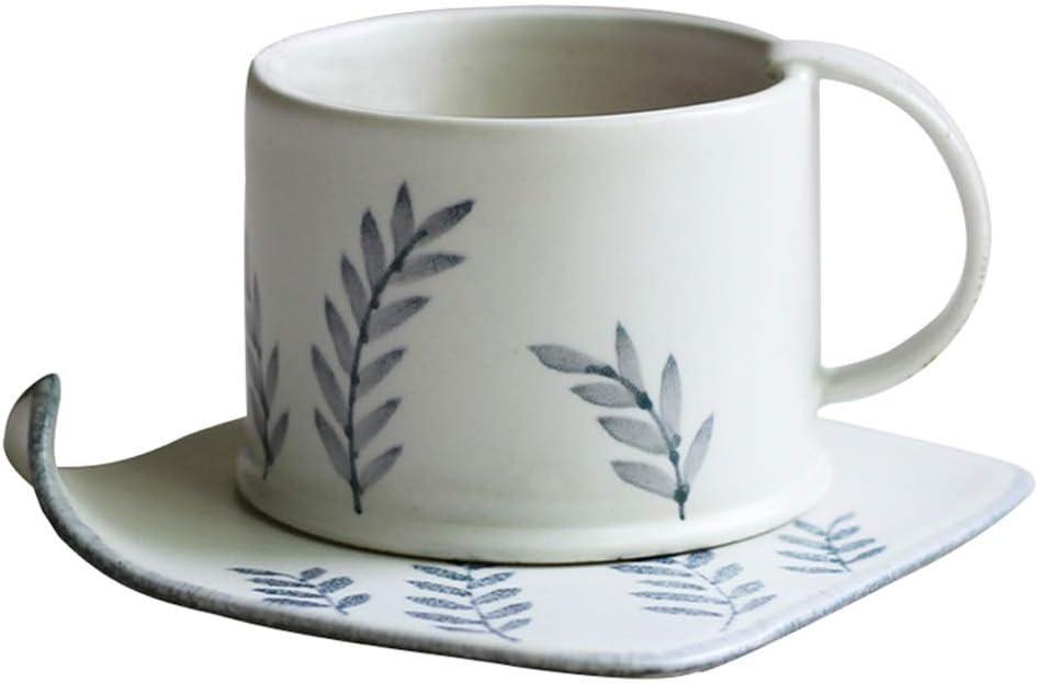 Taza para té Combo de Tazas y platillos apilables Simples 8.6 oz / 245 ml, Tazas de Capuchino de té Estilo café Estilo Retro para Oficina y hogar, patrón Pintado a Mano,