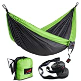 Honest Outfitters Double Camping Hammock With Hammock Tree Straps,Portable Parachute Nylon Hammock for Backpacking travel 118L x 78W Inches Grey/Green