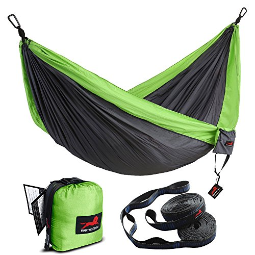 - HONEST OUTFITTERS Double Camping Hammock with Hammock Tree Straps,Portable Parachute Nylon Hammock for Backpacking Travel 118L x 78W Inches Grey/Green