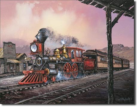 Number 82 Train Rolling Thru Town Tin Sign 13 x 16in (Railroad Signs Vintage)