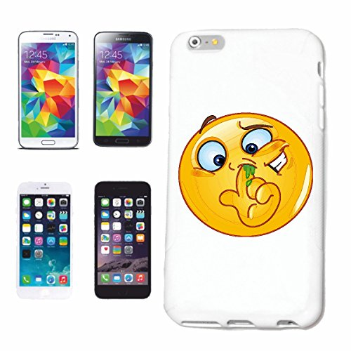 "cas de téléphone iPhone 6 ""FORAGE SMILEY IN THE NOSE ""sourire EMOTICON APP de SMILEYS SMILIES ANDROID IPHONE EMOTICONS IOS"" Hard Case Cover Téléphone Covers Smart Cover pour Apple iPhone en blanc"