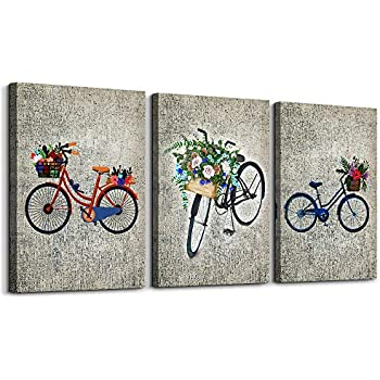 Black and White Bicycle Inspirational Canvas Wall Art for Living Room Bedroom Decoration,Bathroom Wall Decor 3 Piece Home Decoration Watercolor Painting Office Decor Wall Painting Mural Artwork