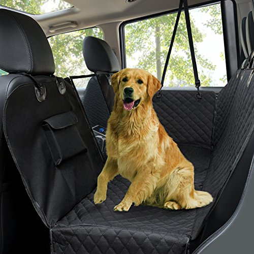 Dog Car Seat Covers,Pet Rear Seat Cover,Waterproof and Scratch Proof and Nonslip Back Seat Cover,Durable Hammock with Seat Anchors,Washable,Convertible Mesh,Universal Fits Cars Trucks And SUV Black
