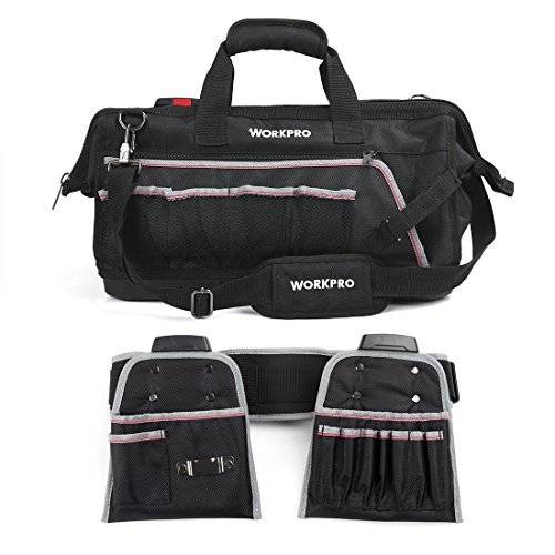 WORKPRO Tool Bag Heavy Duty 18-Inch with Molded Waterproof Bottom and 2 Tool Belt Pouches Combo Adjustable Shoulder Strap, Belt Included by WORKPRO