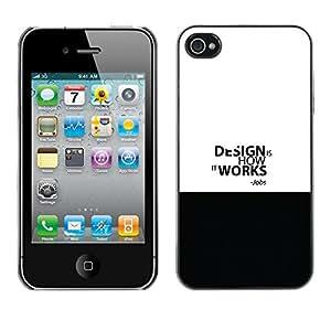 Apple iPhone 4 / iPhone 4S / 4S , Radio-Star - Cáscara Funda Case Caso De Plástico (Design Work - Jobs Quote)