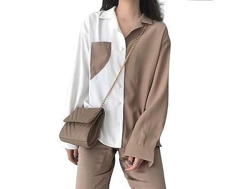 79b8ce365 NewCime Women's Vintage Loose Long Sleeve Lapel Colorblock Shirt Tops  Cardigan (Color : Khaki,