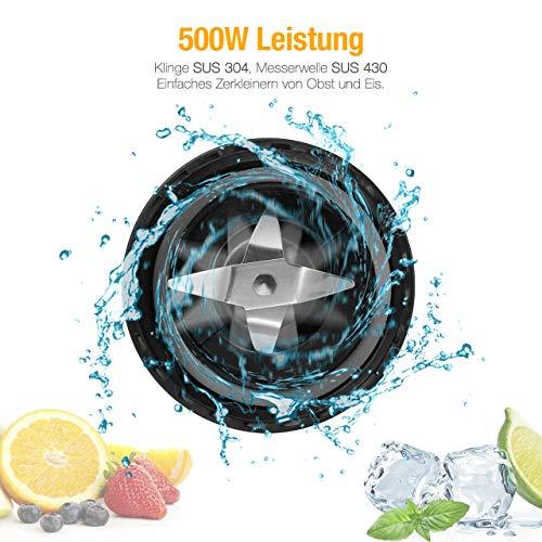 Housmile Mix & Go Standmixer 500W leistungsstarker Smoothiemaker mit Edelstahlmesser, zwei BPA-freie Tritan Trinkflaschen und extra Mahlbecher, spülmaschinenfester Miniblender, Silber-Schwarz