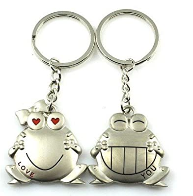 Cookids Romantic Big Mouth Frogs Couple Keychain Metal Boy Girl Love Lovers Sweethearts Key Chain Ring Silver Unique Special Cute Novel Gift from Time Sino Cool Fire