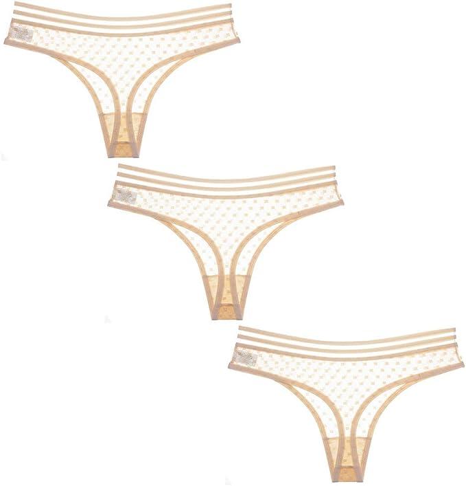 SotRong Pack de 3 bragas de encaje sexy para mujer, tanga transparente, ropa interior ultradelgada, de talle bajo: Amazon.es: Ropa y accesorios