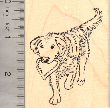 (Golden Retriever Dog with Heart Valentine's Day Rubber Stamp)