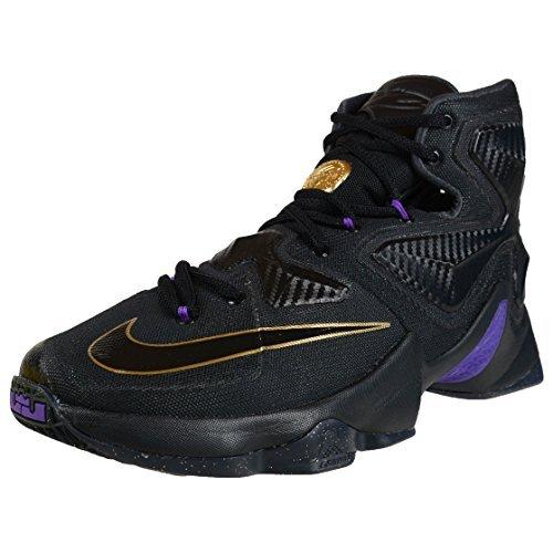 reputable site ac005 9ad43 spain nike mens lebron xiii black black metallic gold hyper grape  basketball shoe 10 dm us