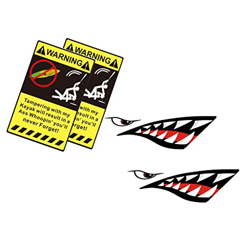 MonkeyJack 2 Pieces Shark Teeth Decals + 2 Pieces Kayak Warning Stickers - Waterproof Funny Vinyl Stickers for Kayak / Canoe / Ocean Boat by MonkeyJack