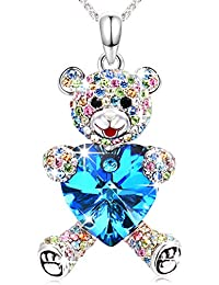 Swarovski Necklace Jewellery for Woman Girls with Blue Heart & Rose Pink Pear Lucky Teddy Bear Crystals Pendent Anniversary Birthday Jewellery Gifts