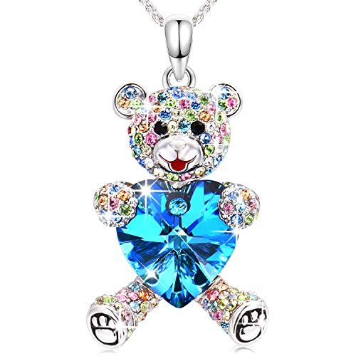 (Conmisun Necklaces for Women Girl with Crystals from Swarovski March Birthstone Blue Heart Cute Teddy Bear Guard Your Love, Anniversary Birthday Friendship)