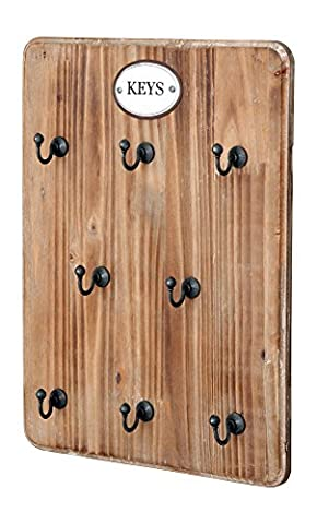 Wooden Farmhouse Style Key Hook Board (10Wx13L) - Hill Home Office Collection