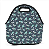 Sea Turtles Green Mint Nautical Ocean On Dark Blue Navy Tiny Small_798 Waterproof Insulated Lunch Portable Carry Tote Picnic Storage Bag Lunch box Food Bag Gourmet Handbag For School Office