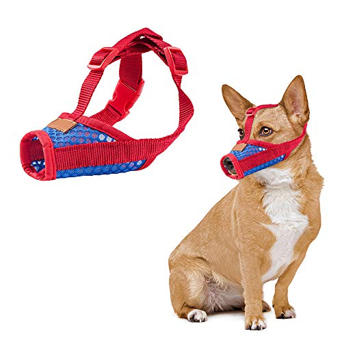 CooZero Dog Muzzle, Nylon Dog Muzzle Mouth Cover, Air Mesh Pet Muzzle for Anti-Biting Anti-Barking Licking Adjustable Pet Mouth Cover (S, Red)