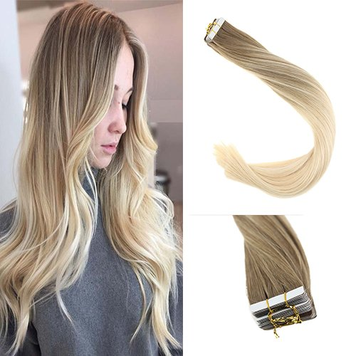 Sunny 14inch Blonde Balayage Tape in Hair Extensions Remy Hair Golden Blonde Highlight to Platium Blonde Real Straight Human Hair Tape in Skin Weft Extensions 20pcs 50g/pack