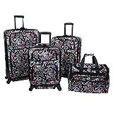 World Traveler Paisley 4-Piece Rolling Expandable Spinner Luggage Set