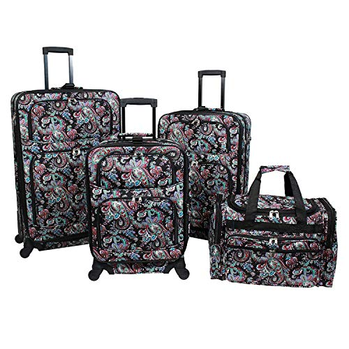 World Traveler Paisley 4-Piece Rolling Expandable Spinner Luggage ()