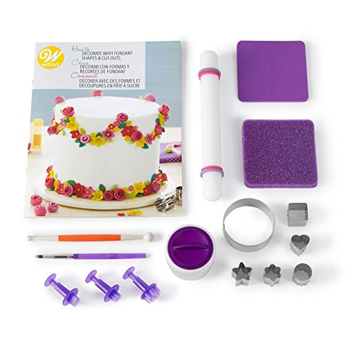 Cake Decorate Fondant (Wilton How to Decorate with Fondant Shapes and Cut-Outs Kit - 14-Piece Cake Decorating Kit with 3 Fondant Cutouts, Fondant Shaping Set, Roller, Dusting Pouch, 6 Cutters, Video Tutorial)