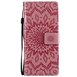 Sony Xperia XA3 Case, Lomogo Leather Wallet Case with Kickstand Card Holder Shockproof Flip Case Cover for Sony Xperia XA3 - LOKTU24130 Pink