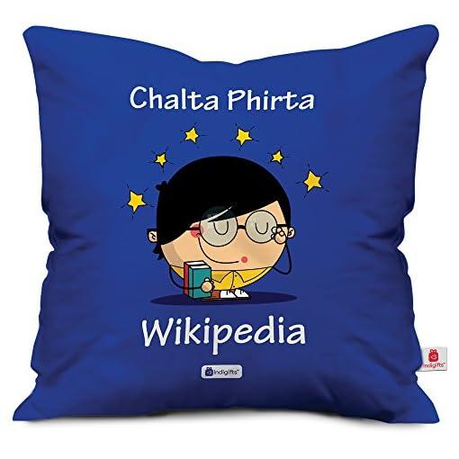 Indigifts Chalta Phirta Wikipedia Quote Printed Blue Cushio
