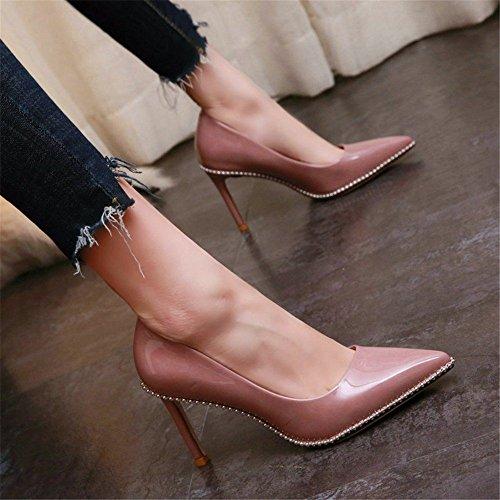 a YMFIE scarpe le da ha singole rivetti temperamento La lavoro tacco basse e B sottolineato semplice primavera con spillo l'autunno sexy scarpe bocca alto moda Px4qP6r8