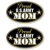Stickerlicious Pack of 2 Vinyl Decals - Proud US Army Mom Car Truck Window Notebook