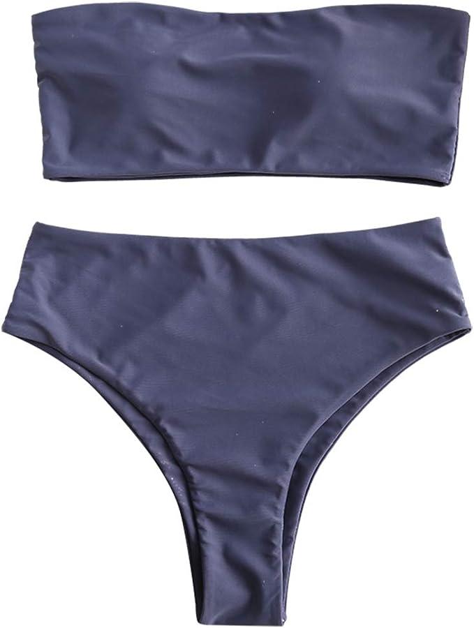 Amazon.com: ZAFUL Bikini sin tirantes de cintura alta de dos ...