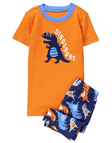 Gymboree Little Boys' 2 Piece Cotton Tight-Fit Pajamas, Orange Dino, 8