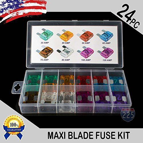 24 Pack MAXI / APX Blade Fuse Assortment Auto Car Truck Motorcycle SUV FUSES Kit ()